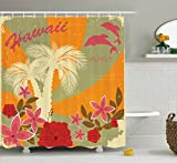 Ambesonne Hawaiian Decorations Collection, Aloha Vintage Style Print Colorful Swirl Background Dolphins Palm Trees Flowers , Polyester Fabric Bathroom Shower Curtain Set with Hooks, Red Mustard