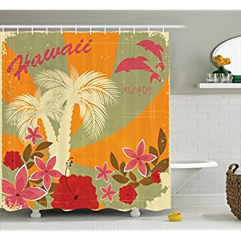 Amazon.com: Lunarable Vintage Hawaii Shower Curtain by, Old School ...