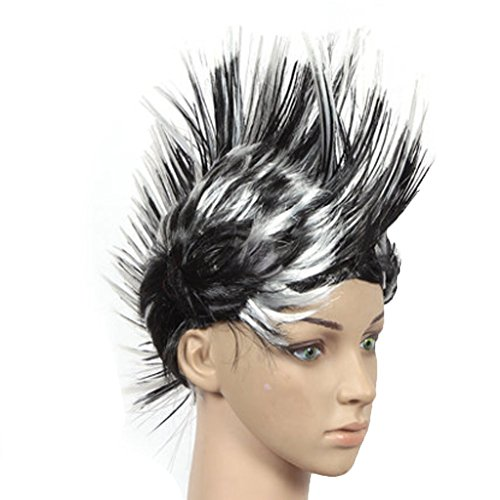 PANDA SUPERSTORE Halloween Costume Party Wigs Mohawk Hair Punk Dress up, Black&White ()