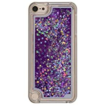 Touch 5 Case,iPod Touch 6 Case,LEECOCO Creative 3D Stars Floating Quicksand Shiny Bling Glitter Flowing Liquid Transparent Clear Hard PC Protective Case for iPod Touch 5 / 6 Star Purple