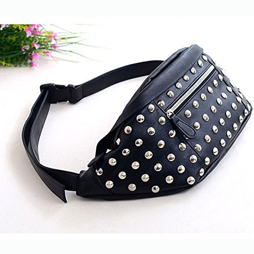 Cell Phone PU Bag Fashion Fanny Rivets Black Pack Retro Bag Women Leather 1 Mini Travel Belt Stripes Waist Bumbag Meliya Pouch wZYIaqq