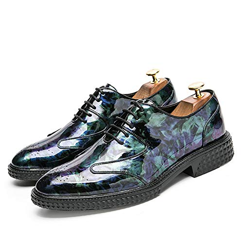 Scarpe in Business in Scarpe Brush Traspirante da Brogue Colore Personality Fashion Retro Uomo Casual da Cricket Oxford Blu Vernice A5CzHqw