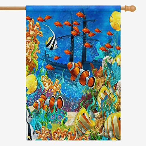 "Ashsprt Tropical Coral Reef Fishes Ocean Sea Life Garden Flag Two Sides Print Outdoor Non-Fading Durable Flag Size: 12"" x 18"""