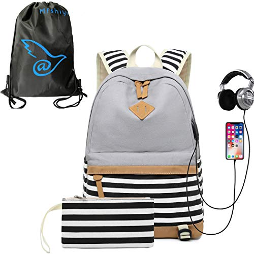 Price comparison product image Affei School Backpacks Canvas Backpack Bundle Backpack for Girls Stripe School Bag With 15.6 inch Laptop Compartment,  USB Charging Earphone Port (Gray)