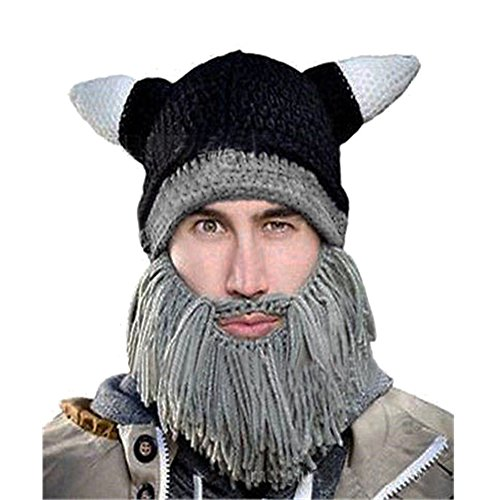Lisli Knit Beard Wig Hats Barbarian Handmade Viking Horn Beanie Halloween Cosplay Caps (Mens Barbarian Wig)