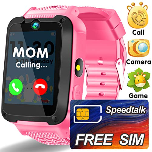 Kids Smart Watch Plus - [Included SIM Card] Kids Smartwatch Phone for Girls Cell Phone Watch with SOS Alarm Camera Child Digital Wrist Watch Bracelet Game Learning Toys Gift for 3-12 Age