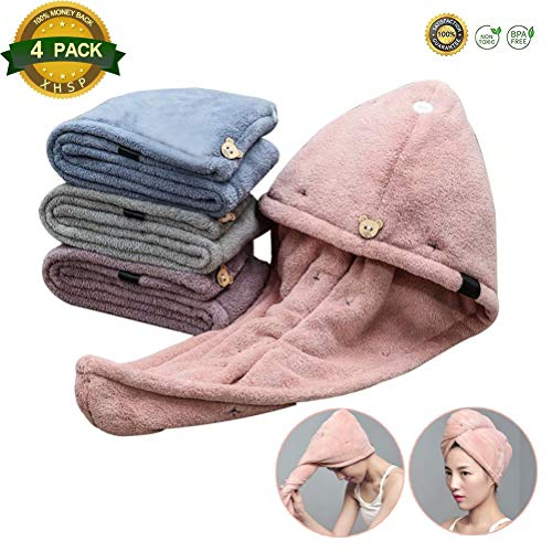 XHSP 4 Pack Microfiber Hair Drying Towels Fast Drying Hair Cap Dry Hair Hat Bath Hair Cap Hair Towel Wrap for Adults Kids by XHSP