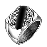 PAURO Men's Stainless Steel Square with Zirconia Punk Wedding and Engagement Lucky Promise Ring Size 9