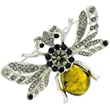 Jet and Black Diamond Crystal and Amber Insect Bug Bee Brooch