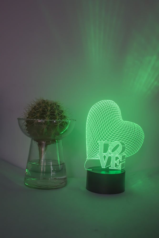 Loveboat USB Powered 7 Colors Amazing Optical Illusion 3D Glow LED Lamp Art Sculpture Lights Produces Unique Lighting Effects and 3D Visualization for Home Decor (LOVE) by Loveboat (Image #6)
