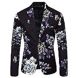 baskuwish Men's Luxury Casual Dress Floral Suit Notched Lapel Slim Fit Stylish Blazer Jacket Party Coats