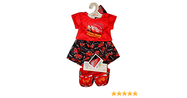 Build a Bear Cars Lightning McQueen PJs with Rust-eze Slippers 3 pc Teddy Size Outfit