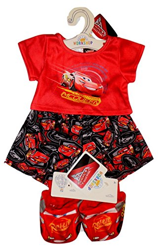 Build a Bear Cars Lightning McQueen PJs with Rust-eze Slippers 3 pc. Teddy Size Outfit -