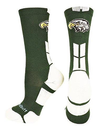 (MadSportsStuff Eagles Logo Athletic Crew Socks (Dark Green/White, Small))