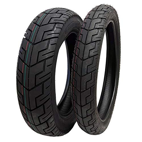 MMG TIRE SET COMBO: Front Tire 90/90-18 and Rear Tire 130/90-15 for Motorcycles Cruiser Chopper Street Tread - Model P47