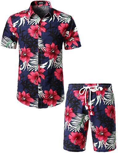 JOGAL Men's Flower Casual Button Down Short Sleeve Hawaiian Suits XX-Large A334TZ (Hawaiian Short Sleeve Shorts)