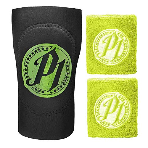 WWE AJ Styles Green Wristband and Elbow Pad 3 Piece Set