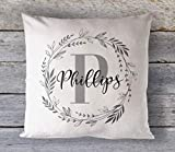 Personalized Name Wreath Pillow Cover, Custom Pillow Cushion Cover, Rustic Country Decor Pillow, Decorative Throw Pillow Case
