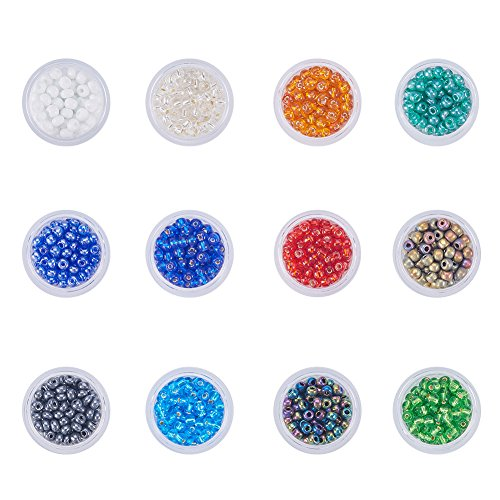 PandaHall Elite 12 Boxes of About 2040 Pcs 6/0 Multicolor Beading Glass Seed Beads12 Colors Silver Lined Round Pony Bead Mini Spacer Beads Diameter 4mm with Container Box for Jewelry Making