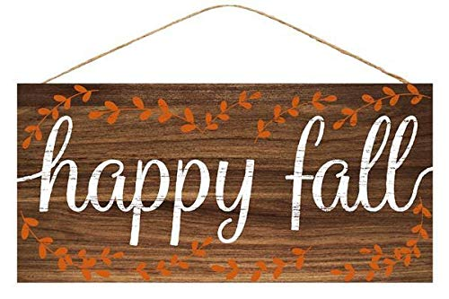 GiftWrap Etc. Happy Fall Wooden Welcome Sign - 12.5 x 6, Autumn Decoration, Front Door, Wreath, Home, Garden, Kitchen, Autumn, Thanksgiving, Greeting, School Classroom, Halloween, Pumpkin Patch from GiftWrap Etc.