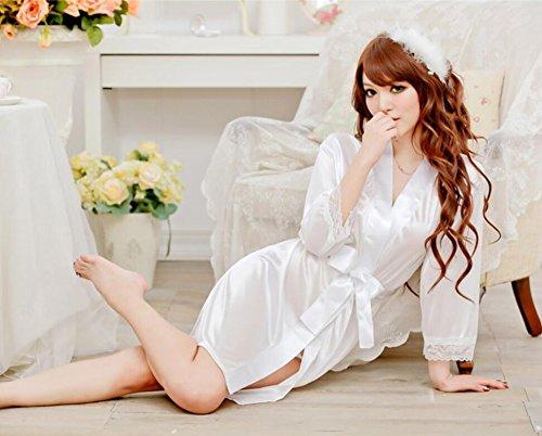 ZC&J La ropa interior atractiva tentación juego atractivo camisón de la correa bata de seda hermoso de encaje,brown,one size White