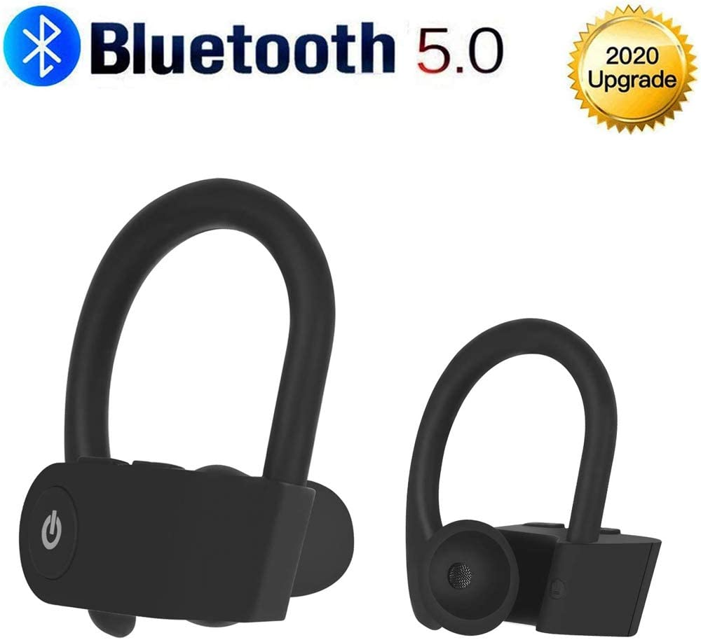 Bluetooth Headphones V5.0 Wireless Earbud, IPX7 Waterproof TWS Stereo Headphones for Sports,Premium Sound with Deep Bass,24H Playtime for Running/Workout for iPhone/Samsung/Windows/Android-Black