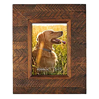 """Eosglac Wooden Picture Frame 5x7 inch, Wood Plank Design with Rustic Brown Finish, Wall Mounting or Tabletop Display, Handcrafted Photo Frame - 【Rustic Design】Distressed finish Textured and beautiful Wooden Frame, Nature-Inspired Textures, Simple &Earthy color make everything Organic and Warmth. 【Simple&Easy Using】Fits for 5x7""""image, Display Desktop or Wall hanging, and Backing board with hooks can display pictures vertically or horizontally with wall mounting. 【100% Handmade】Premium Quality Double layer Wood Border, Glass made Front Cover, High Density Backing Board, which are all made Completely by Hand. Weight: 1.6lb, Size: 10.8 x 8.9 x 0.8 inches. - picture-frames, bedroom-decor, bedroom - 51SVbWfuFDL. SS400  -"""
