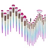 Lospu HY 24Pcs Mermaid Makeup Brushes Set Foundation Eyebrow Concealer Cosmetic Eyeshadow Blush Face Powder Foundation Blending Blush
