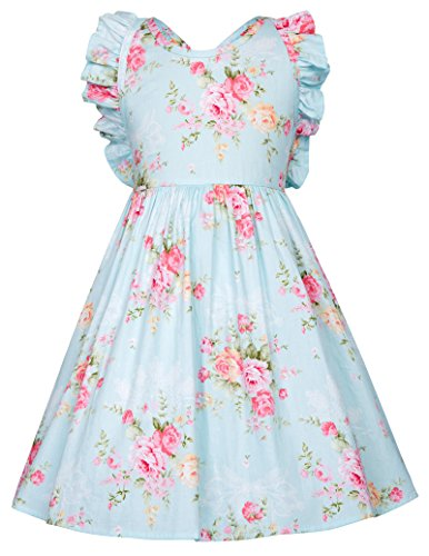 Cotton Vintage Floral Girls Dress Backless Dress for Party 4-5yrs CL601-2 ()