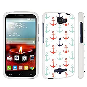 DuroCase ? Alcatel OneTouch Fierce 2 7040T (2014 Released) Hard Case White - (Nautical Anchors White)