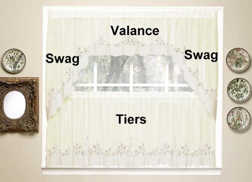Today s Curtain Plymouth Classic Battenburg Applique Sheer Valance, 14-Inch, Ecru