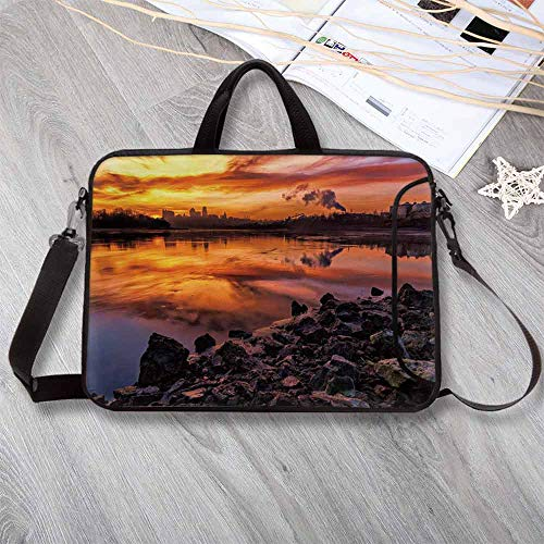 - Landscape Wear-Resisting Neoprene Laptop Bag,USA Missouri Kansas City Scenery of a Sunset Lake Nature Camping Themed Art Photo Laptop Bag for Laptop Tablet PC,8.7