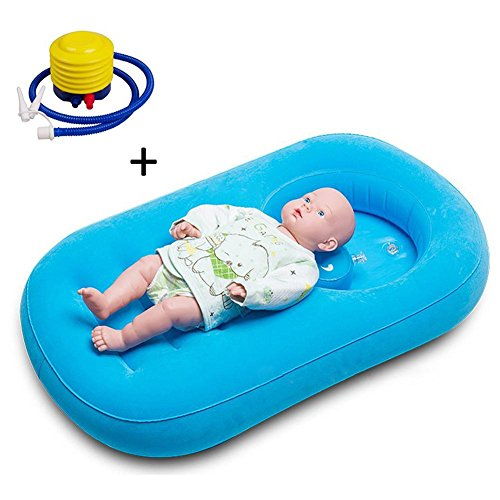 Inflatable Bathtub,Comfortable Child/Baby Inflatable Bathtub Air Bath Basin with Inflator Pump Non-Slip with Soft Cushion Foldable and Portable (Newborn Inflation System)