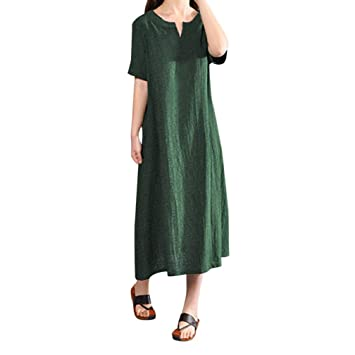 b900b83ca7e Women Plus Size Bohemia Casual Solid v-Neck Short Sleeve Cotton Linen Dress  Loose Pure