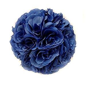 CYNDIE Wedding Flower Blue 15 40cm 5.9- 15.7″ Silk Rose Pomander Flower Kissing Ball Wedding Party 25cm 9.8″