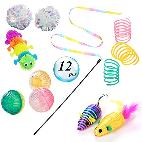 (Aduck Interactive Cat Toys Variety Pack for Kitten, Assortments Cat Toy with Rainbow Wand Toy, Colorful Coil Spiral Spring and Mice Toy, Mylar Crinkle and Bell Balls Toys for Cat Kitten Kitty -12 Pack)