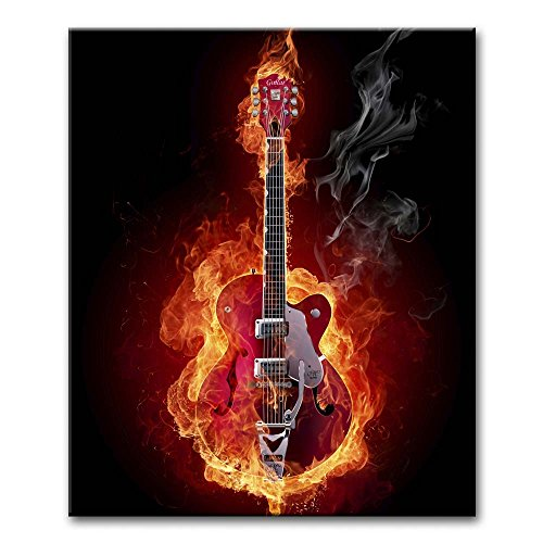 Canvas Print Wall Art Painting For Home Decor,Guitar On Fire Music Paintings Modern Giclee Stretched And Framed Artwork The Picture For Living Room Decoration,Abstract Pictures Photo Prints On Canvas (Guitar Wall Abstract)
