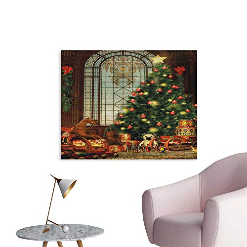 Anzhutwelve Christmas Photographic Wallpaper Magical Vintage Ambiance Big Old Fashioned Window Xmas Tree Various Presents Art Poster Brown Red Green W28 xL20]()