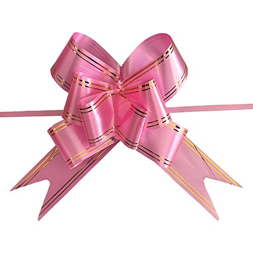 Ecago 100pcs Gift Ribbon Birthday Wedding Home Festive Party Decoration Packing Pull Bow Ribbon Flower Accessories Supplies, 5x70cm, Pink, S790