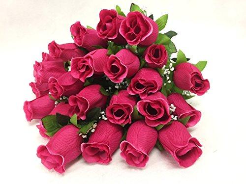 Silk Flower Garden 24 Heads Rose Bud Bouquet 24