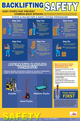 National Marker Corp. PST001 Poster, Back Lifting Safety, 24 Inch X 18 Inch
