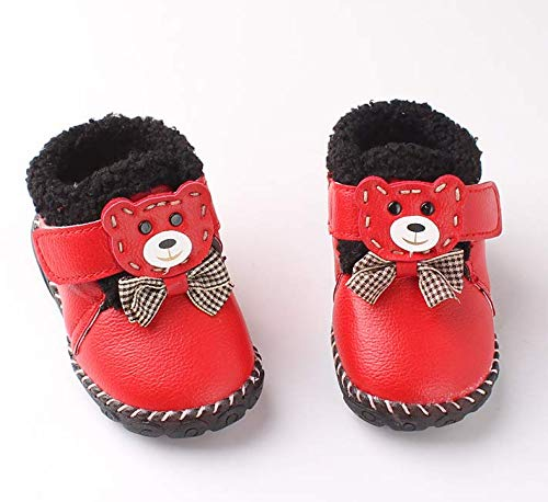 Girls Boys Warm Winter Flat Shoes Bailey Snow Boots(Toddler/Little Kid),Children's Shoes Children's Martin Boots Korean Version of The Leather Girls Children's Snow Boots (Red, 13cm)