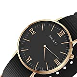 June & Ed Quartz Stainless Steel Mens Watch with Sapphire Crystal Dial Window, Black