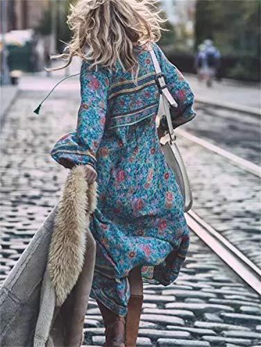 Abito Rcdxing V scollo Vestito abbigliamento elegante Capi Abito As Abito lunghe a fiocco con Abito con di Shown a in nappa maniche stampato 0rp0qS