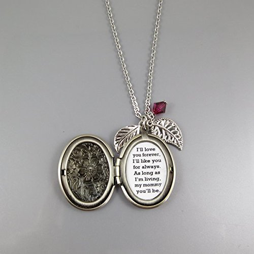 Always My Mommy Mother Necklace Ill Love You Forever Quote Locket Necklace Leaf Flowers Locket Necklace