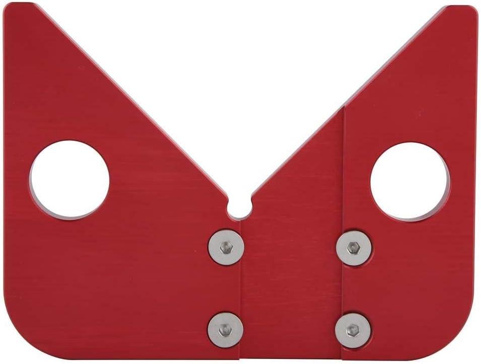 Regla de carpinter/ía redonda con regla de medici/ón central de 45 grados herramienta de calibre de /ángulo rojo de acero inoxidable