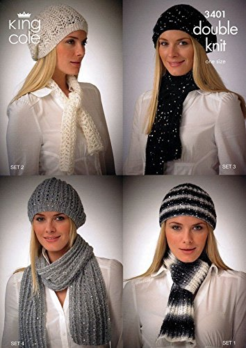 King Cole Ladies Hats Scarves Galaxy Dk Knitting Pattern 3401