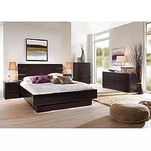 Amazon.com: Tvilum Laguna 3-piece Full Bed, Night Stand and 5 Drawer ...