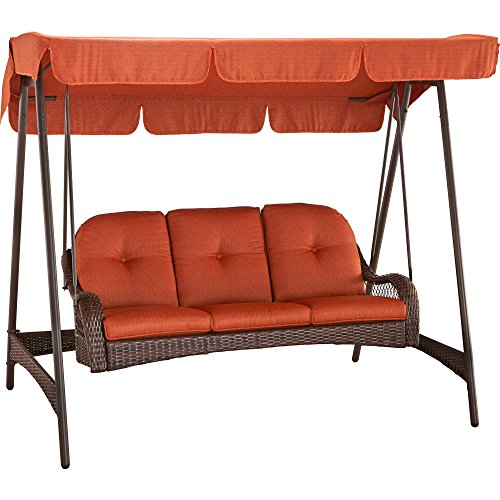 Better Homes and Gardens Azalea Ridge 3-Person Woven Swing with Canopy made with Super Sturdy Steel (Woven Swing)