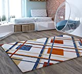 Tartan Beige Geometric Lines Traditional Distressed 5 x 7 [ 5'3″ x 7'3″ ] Area Rug Modern Vintage Transitional Rug Soft Living Dining Room Contemporary Area Rug